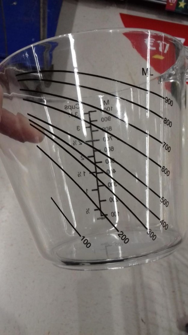 This measuring cup has a second set of indicator lines for when you're pouring.