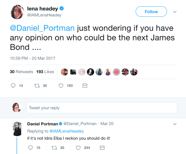 When Daniel Portman (Podrick) voted Lena for James Bond.