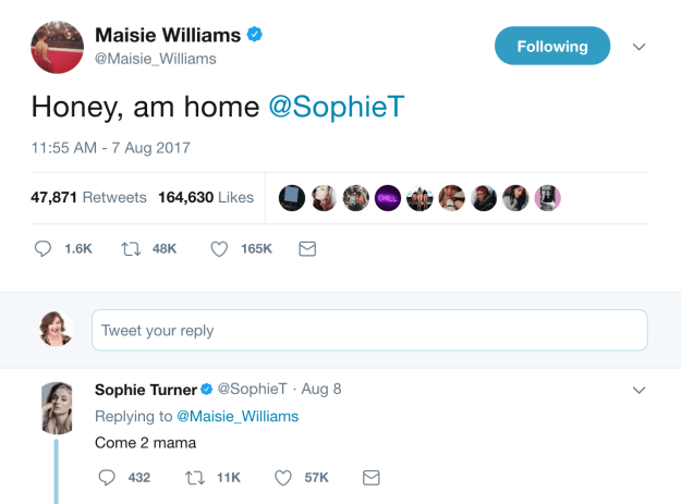 And they shared this cute interaction on Twitter when they finally appeared on screen together again for the first time since Season 1.