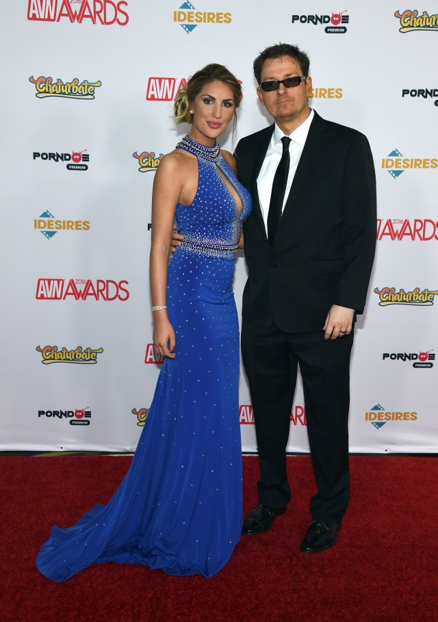 August Ames and her husband adult film producer Kevin Moore attend the 2016 Adult Video News Awards.