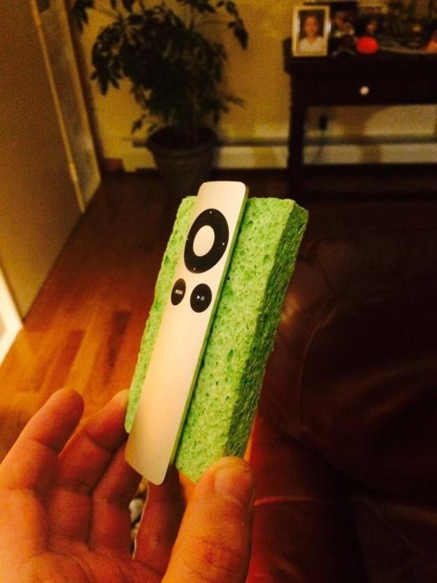 A tiny green sponge: