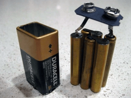 Like this 9-volt battery — it's actually just six AAAA batteries.