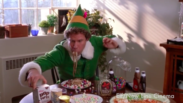 In the spirit of holiday food, we thought it'd be fun to whip up that ridiculous-looking pasta Will Ferrell's character, Buddy, eats in Elf.