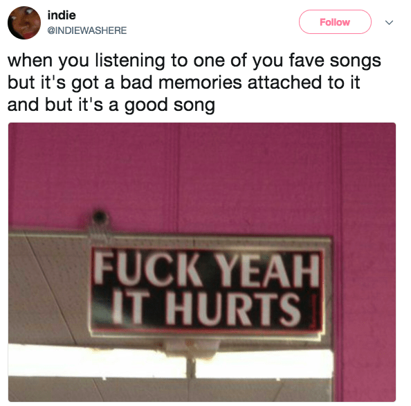 """Had the """"hurts so good"""" music moment:"""