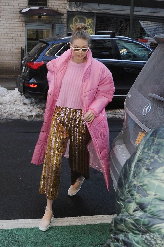 Gigi Hadid wore pink.