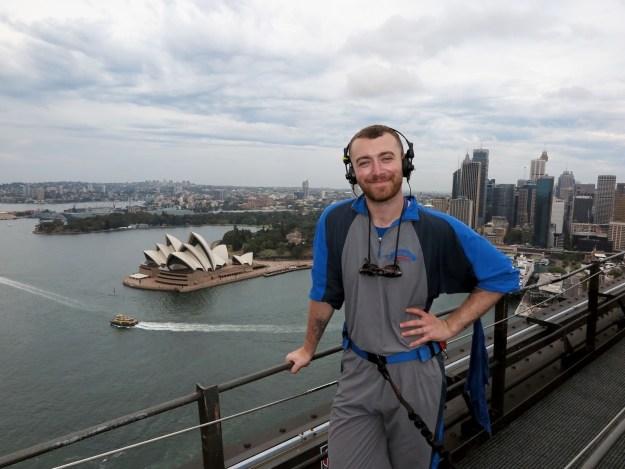 Sam Smith climbed Sydney's Harbour Bridge.