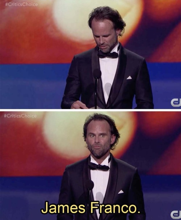 Actor James Franco won the Critics' Choice Award for Best Actor in a Comedy this evening, but did not attend the ceremony. Presenter Walton Goggins accepted the award on Franco's behalf.