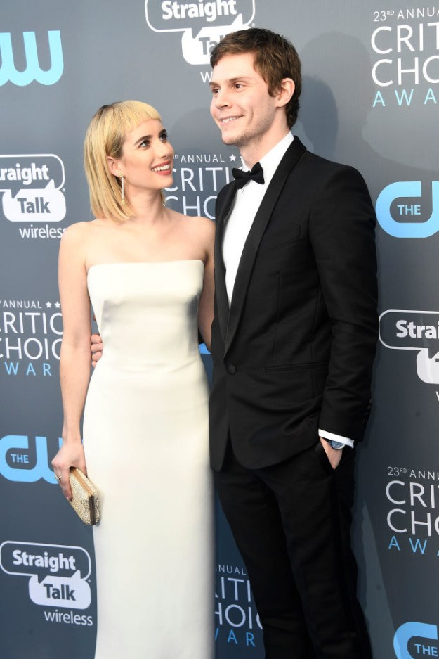Emma Roberts showed up to the Critics' Choice Awards tonight with her boyfriend Evan Peters...