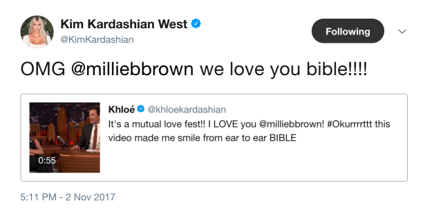 And then Kris Jenner, Khloé and Kim all returned the compliment by tweeting how much they love Millie.