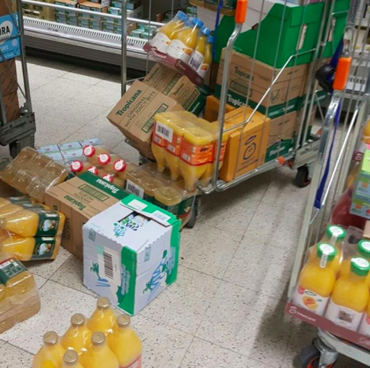 And this supermarket worker, who spilled a bunch of juice: