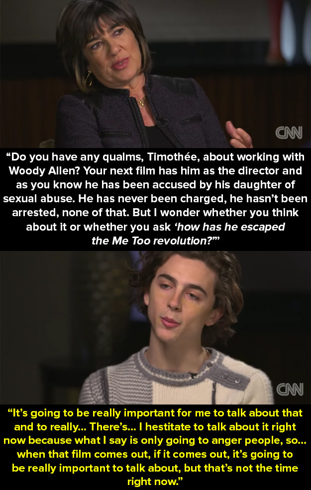 In an interview with Christiane Amanpour on CNN last week, Chalamet was asked whether he has any qualms with about working with Allen in the upcoming film.