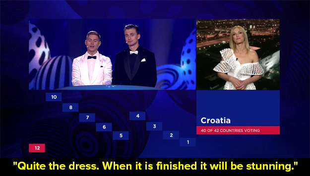 And when he roasted this dress worn by a presenter in Croatia.