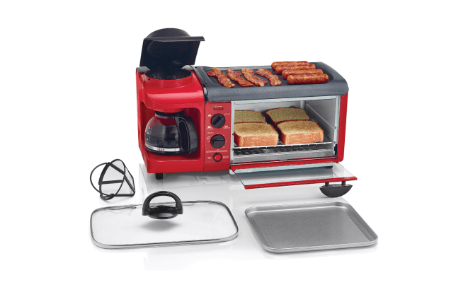 """""""There's a toaster oven, a four-cup coffee pot, and a griddle. It's the perfect size for our tiny city apartment and for just the two of us."""" —Samantha W.Get it from Jet for $69.99."""