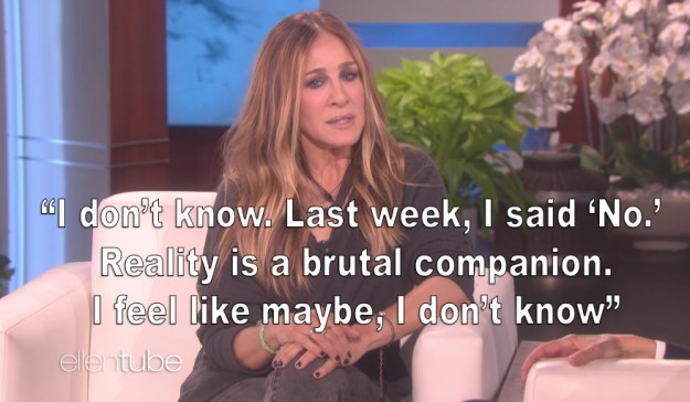 And though it had been announced that the SATC3 was canceled, Sarah Jessica told Ellen that that might not be the case: