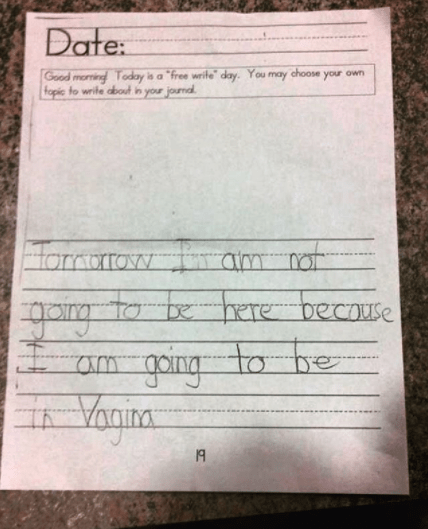 "When this student really should have asked how to spell ""Virginia."""