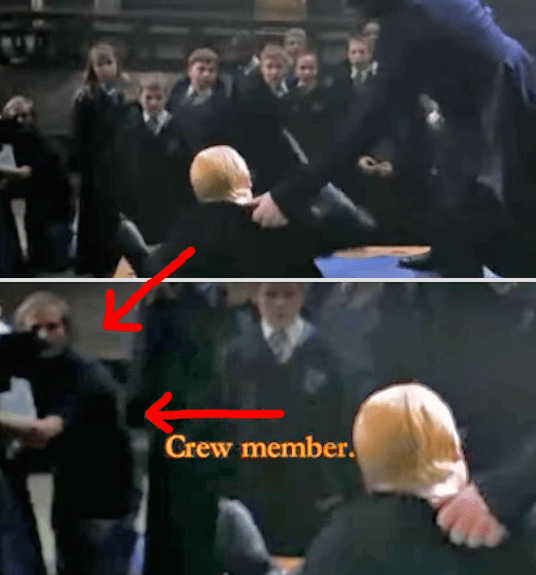 In Harry Potter and the Chamber of Secrets, you can visibly see a cameraman in the shot during Harry and Draco's dueling scene.