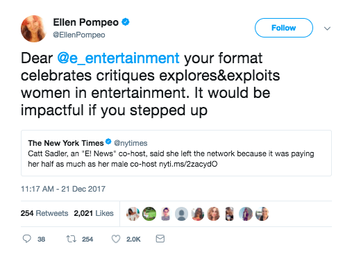 When she called out E! for their wage gap: