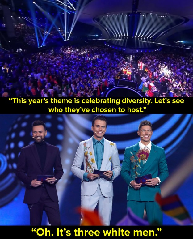 When he made this point about the lack of diversity during the Eurovision Song Contest 2017.