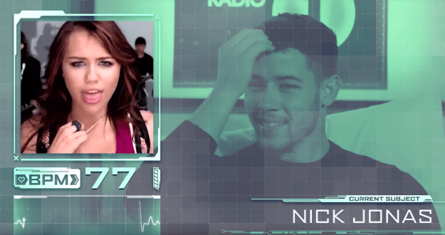 "First up, Nick was made to watch the video for Miley Cyrus's ""7 Things"", a banger that was always rumoured to be about him."