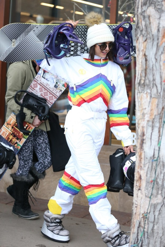 Nina Dobrev wore a Rainbow Brite-inspired snow suit.