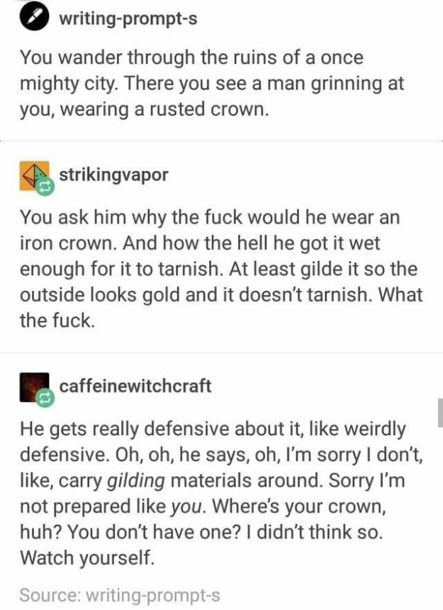 The story of the man with limited crafting materials.