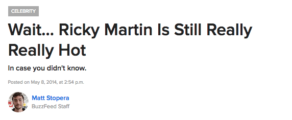 In fact, if I'm being honest, I think Ricky Martin is one of the hottest guys ever conceived. I've even written about it before.