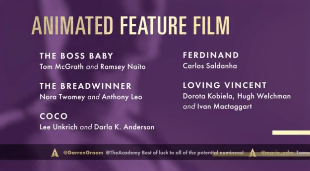 The Boss Baby, an animated film about a baby who has the mind of an adult (voiced by Alec Baldwin) has been nominated for an Oscar, alongside three other films including Coco.