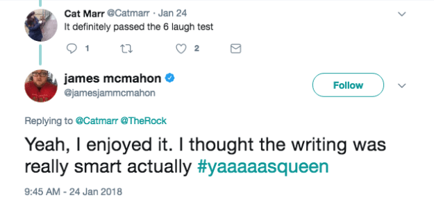 """Despite the """"FUCK THE NEW JUMANJI"""" part, James did admit the movie was """"quite good"""" amongst other things."""
