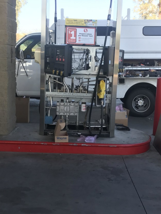 The inside of a gas pump: