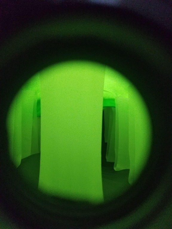 The inside of an air mattress (in night vision):