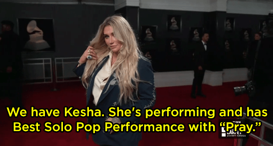 "The E! reporters referred to Kesha's song as ""Pray"" instead of ""Praying."""