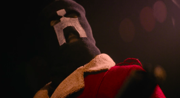 """The mask worn by the hunter in """"White Bear"""" from season two."""