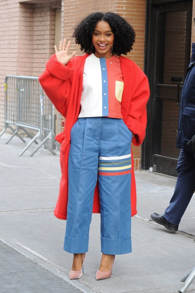 Yara Shahidi served looks in the freezing cold.