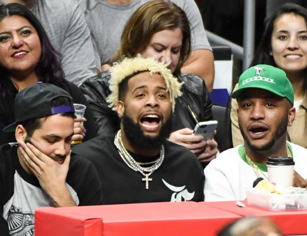 Odell Beckham Jr. cheered from the crowd at the Clippers v. Thunder game.