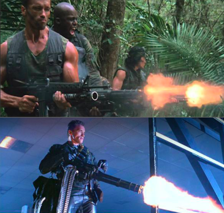 Arnold Schwarzenegger uses the gun from Predator again in T2: Judgement Day.