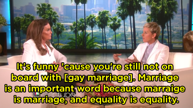 """When she schooled Caitlyn Jenner after she seemed to not be """"on board"""" with gay marriage:"""