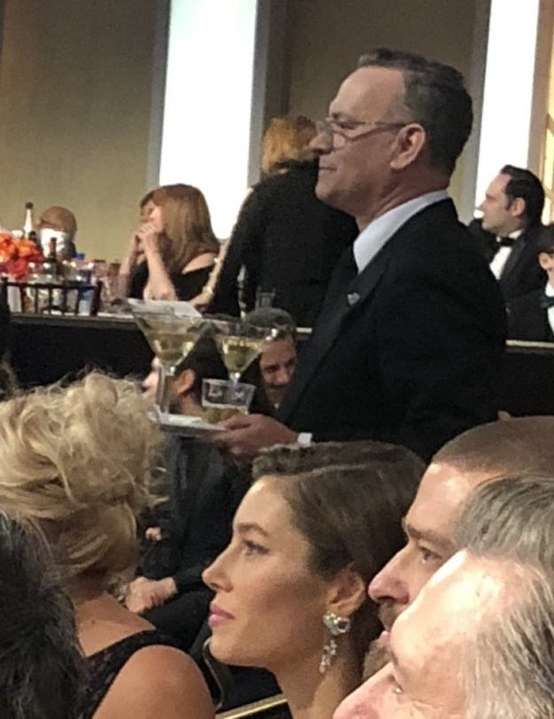 In conclusion: Thank you for your service, Tom Hanks! But sorry to Jessica Biel and Justin Timberlake, who Tom Hanks walked right by and didn't give drinks to.