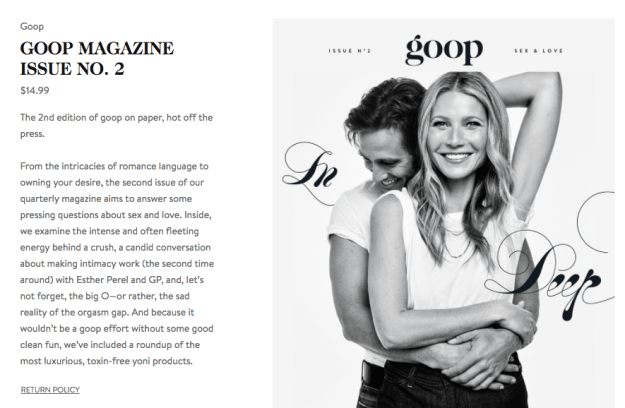 "Now the couple will appear in the second-ever print issue of Goop, Paltrow's lifestyle company, titled ""Sex & Love."""