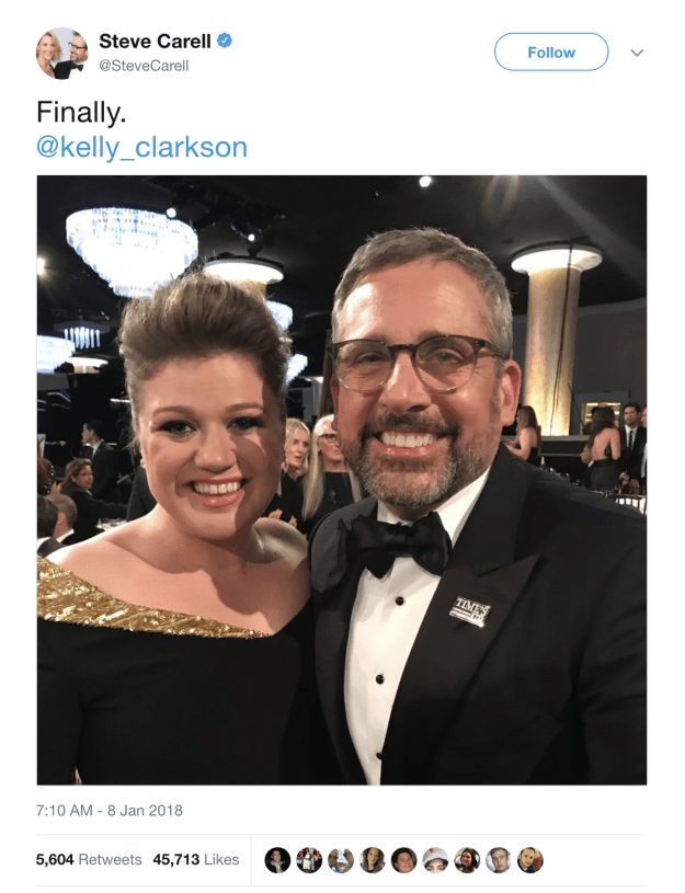 """But the most impactful — yes, impactful — moment of the night had to be when she and Steve Carell """"finally"""" met."""