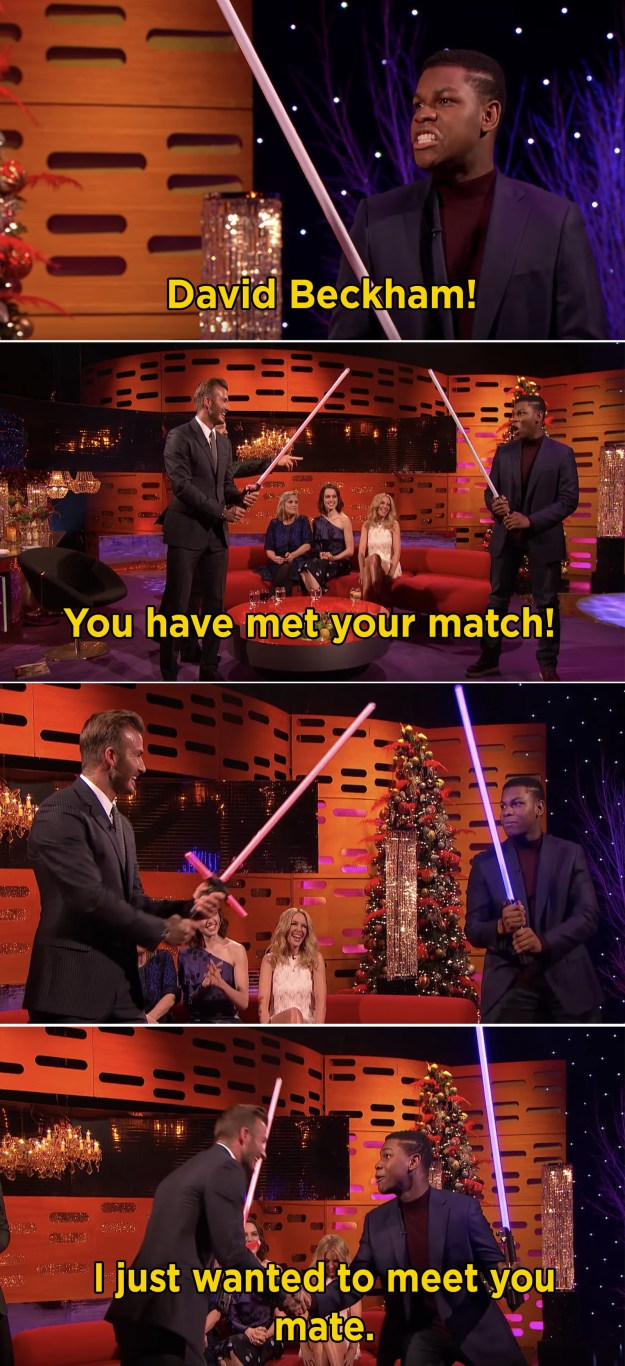 """When he got into this lightsaber """"fight"""" with David Beckham:"""