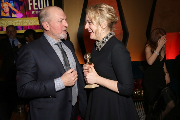 Then, inside the afterparty, she chatted with The Handmaid's Tale producer Joseph Boccia.
