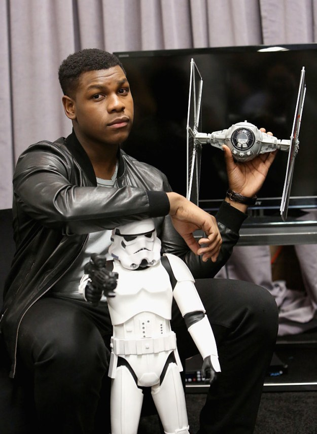 When he adorably posed with this TIE fighter and Stormtrooper: