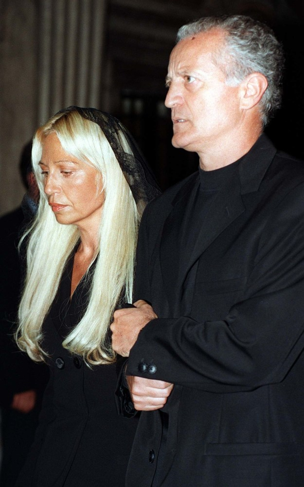 Santo and Donatella Versace walked inside the cathedral together.