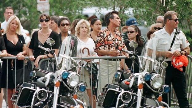 Mourners gathered outside St. Patrick's Catholic Church in Miami Beach on July 18 during a memorial service for Versace.