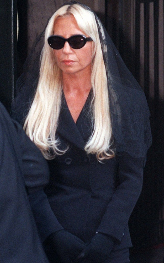 Donatella Versace left her brother's Milan home to attend his memorial.