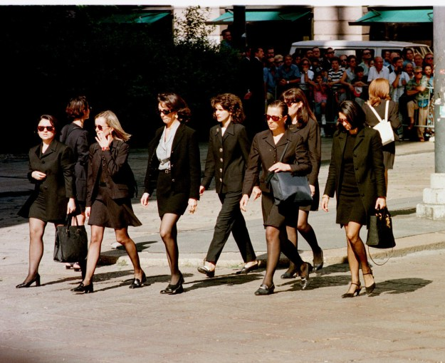 Mourners wore black to mark the somber occasion.
