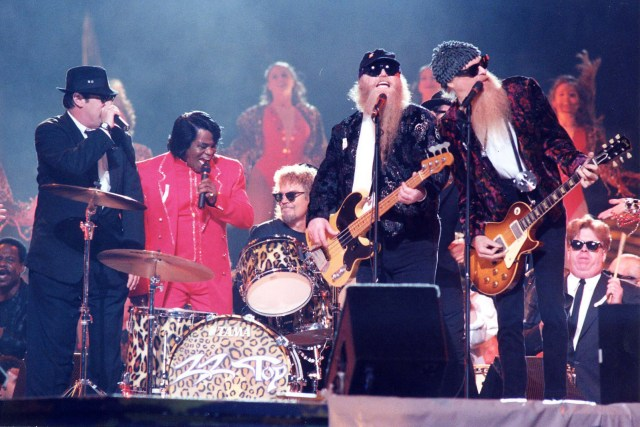 Jan. 26, 1997 — Dan Aykroyd, James Brown, and ZZ Top at Super Bowl XXXI in New Orleans