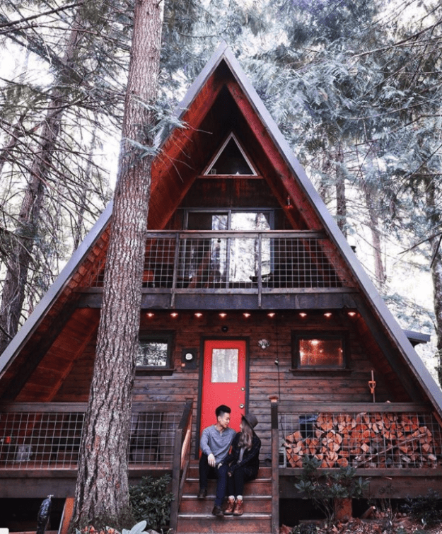 """And this Little Owl Cabin is fittingly listed as """"your Pacific Northwest A-frame cabin fantasy"""" for $229/night."""