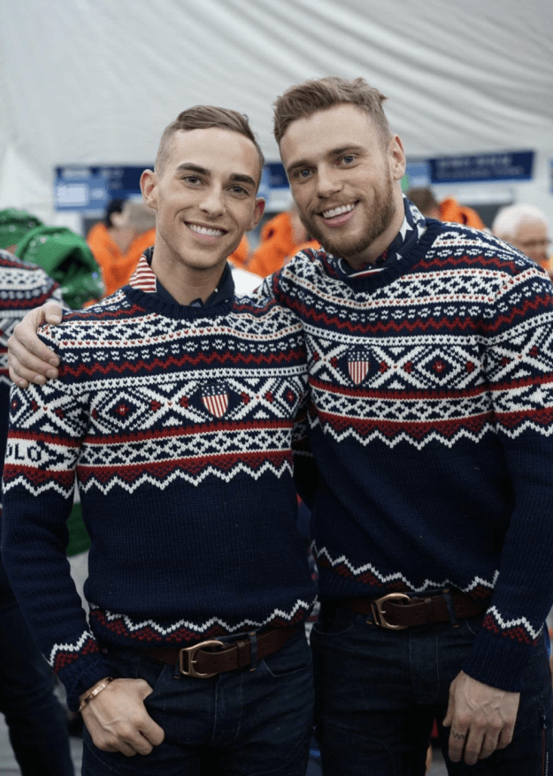 This is figure skater Adam Rippon and skier Gus Kenworthy. They're making history this year in South Korea as the first two openly gay male athletes to compete for Team USA at the Winter Olympics. Here they are looking super adorbs at the Opening Ceremony.