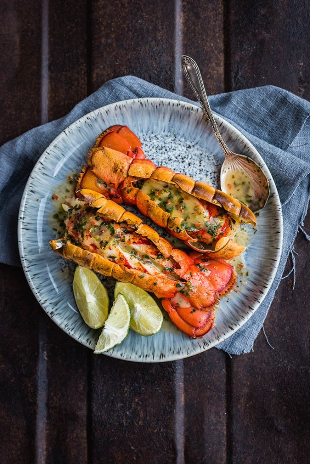 Grilled Lobster Tails with Coriander and Chilli Butter Sauce